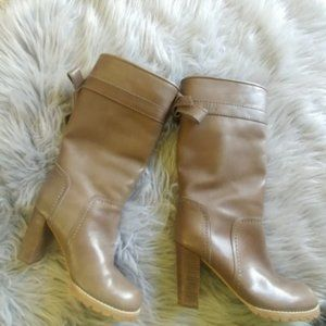 See By Chloe Leather Bow Tie Heel Boots 6.5